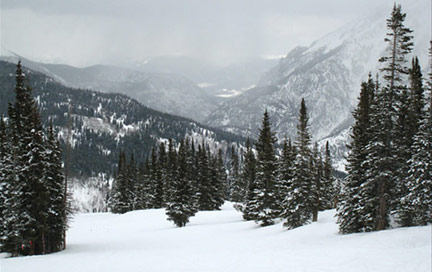 A snow filled ski slope at Copper Mountain near Dillion, Colorado