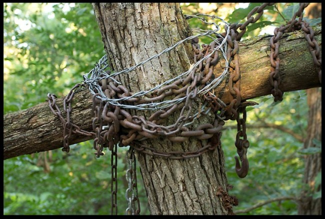 """Cross and crown of thorns, Camp Luther, Nebraska Mark 15:38-39. """"Truly this man was the Son of God!"""""""