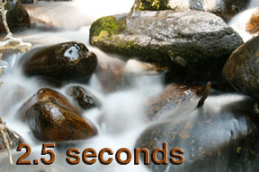 This photo shows the white water effect of a 2.5-second shutter speed on Calypso Cascades in Rocky Mountain National Park 2.5-seconds