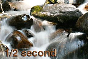 This photo shows the white water effect of a .5-second shutter speed (1/2 second) on Calypso Cascades one-half