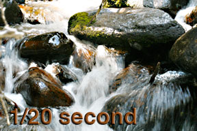 This photo shows the white water effect of a 1/20-second shutter speed on Calypso Cascades