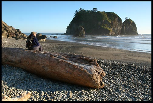 A woman hiker sits on a large driftwood log on Beach 3 in Olympic National Park