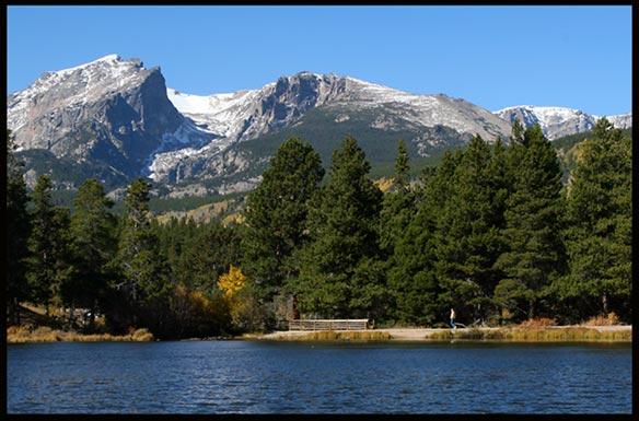 Hallett Peak and Flattop Mountain from Sprague in Rocky Mountain National Park, Colorado