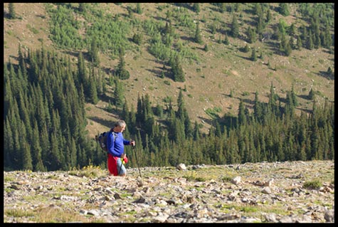 A man hiking up the side of Mount Elbert to represent walking up the mountain of God's Word