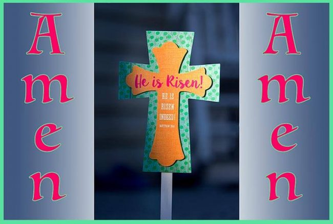 A decorative easter cross celebrating that he has risen and the Resurrection is real. amen. Bible Verse of the Day: Luke 24:1-6a
