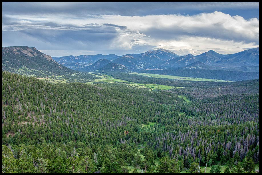 Clouds over the green valley of Upper Beaver Meadows, Rocky Mountain National Park, Colorado and 2 Kings 19:15-16 God over all kingdoms