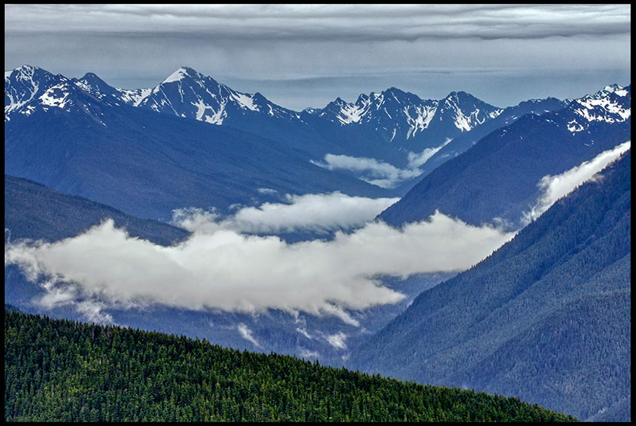 Olympic Mountain Range and rain clouds, Olympic National Park, Washington State and Psalm 90:2 bible verse everlasting God