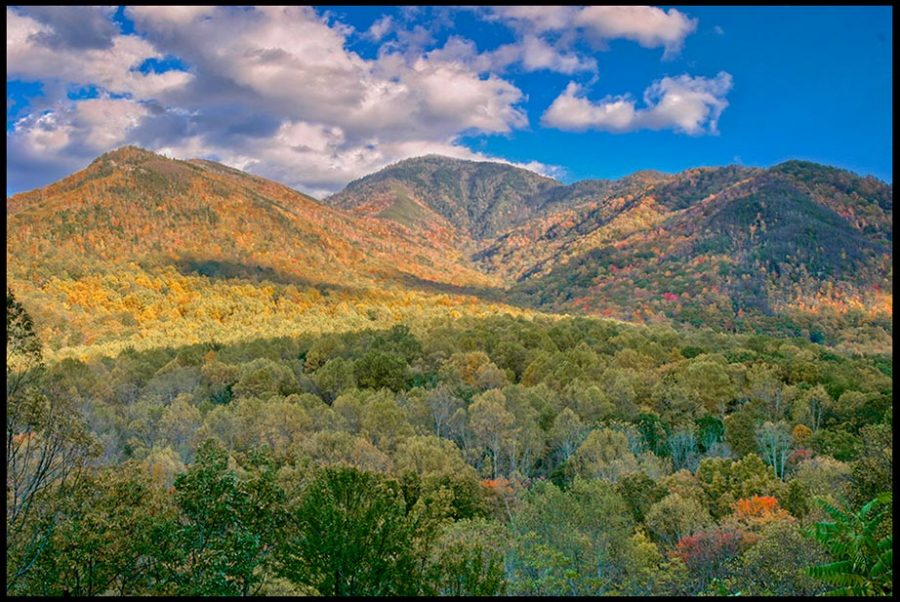 "Green trees and fall colors dot the landscape of Great Smoky Mountains National Park, Tennessee and Psalm 121:1-2. ""I lift up my eyes"