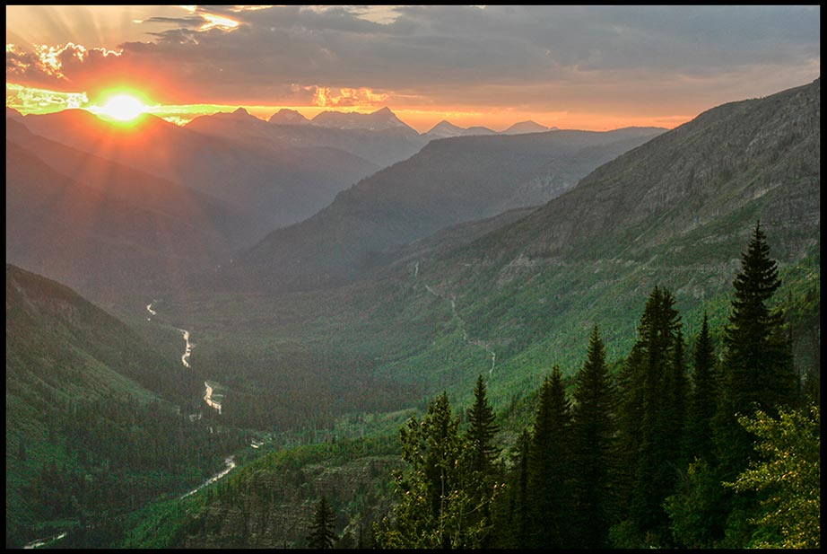 Sunset over the McDonald River Valley and the Mountains of Glacier National Park, Montana and Isaiah 45:18: Bible verse, God created