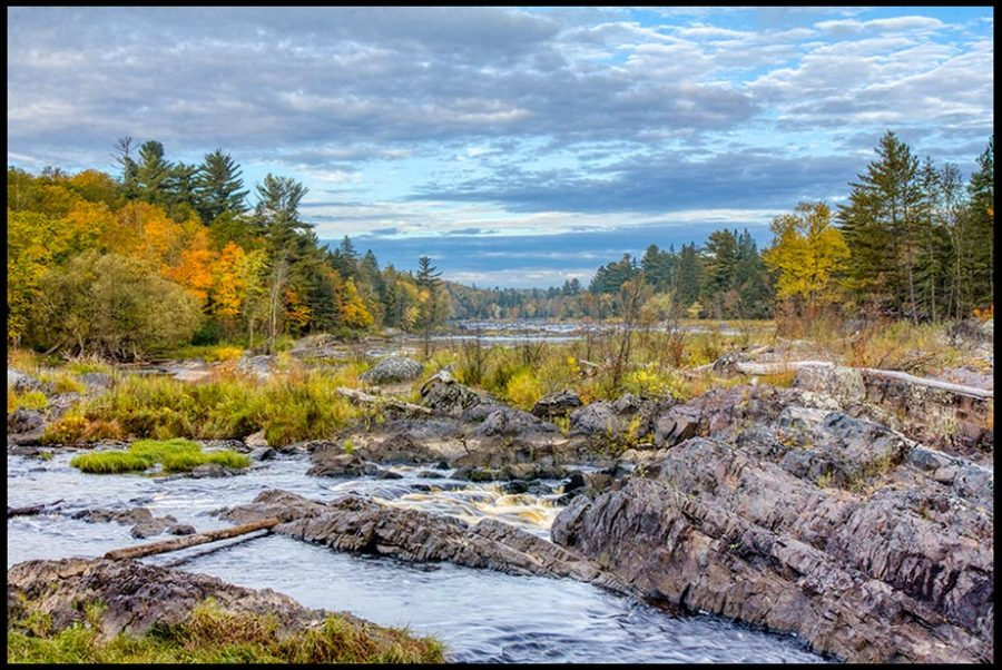 Fall colors along the rock of the Saint Louis River, Jay Cooke State Park, Minnesota and Isaiah 40:13-14 Bible verse on God being omniscient