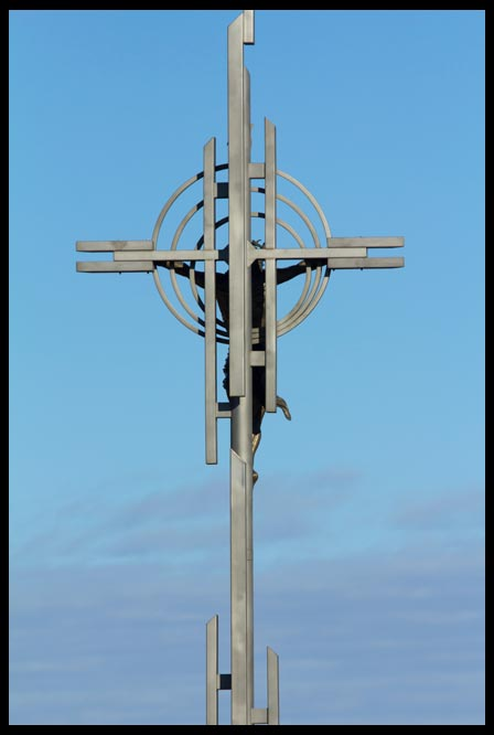The cross of Christ and blue sky, Holy Family Shrine, Eastern Nebraska, Take up your cross: