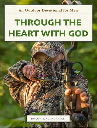 An outdoorsmen's devotional cover with a bow hunter in in camouflage clothing on pulling back on his bow. Download to enjoy this outdoorsmen's devotional