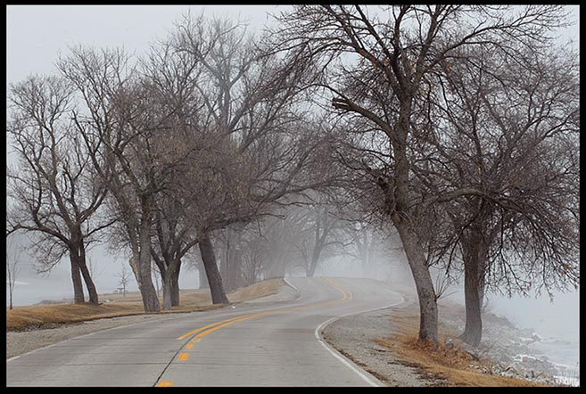 "A road winds through dense fog and trees, Lake Manawa State Park, Iowa and Isaiah 42:16a. ""God guide us Bible verse"