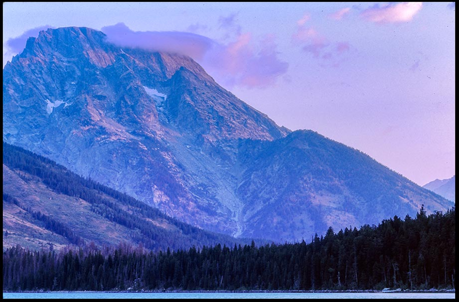 A Mount Moran at sunrise near Jenny Lake in Grand Teton National Park, Wyoming and Matthew 14:23 Bible verse time with God in nature