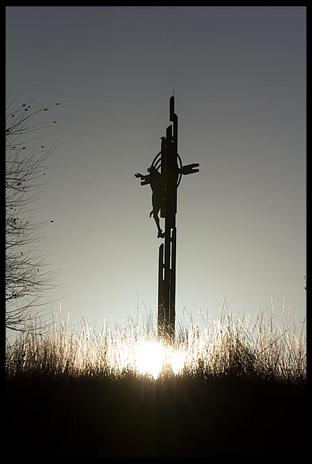 A silhouetted Christ on the cross for Good Friday, the Holy Family Shrine, Eastern Nebraska.  Christ's Sabbath Rest