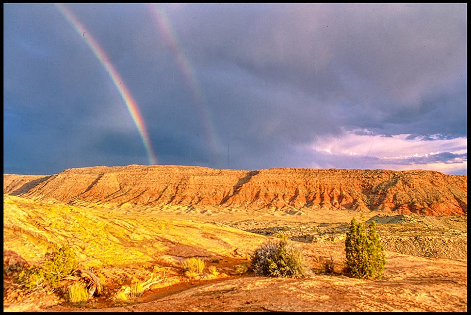 A Double Rainbow with grey sky and red rock and dirt landscape Arches National Park, Utah and Genesis 9:16-17 Bible Verse of the Day: