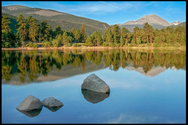 Mountains reflect in a small still lake in Rocky Mountain national park with Bible verse 2 Thessalonians 3:16 Lord of peace
