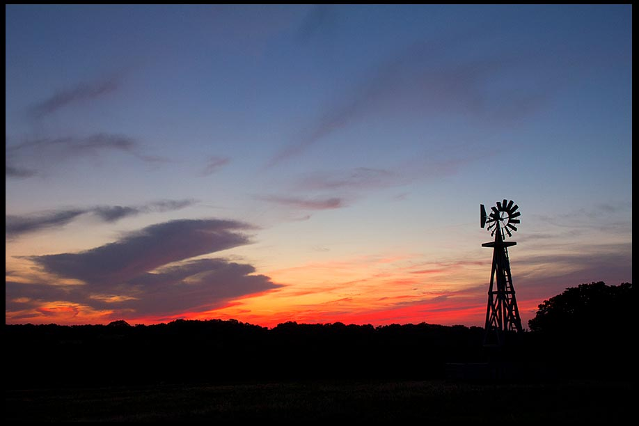 A wind mill is in a red and blue sunset sky, Mahoney State Park, Nebraska and Psalm 89:5-6, heavens praise bible verse