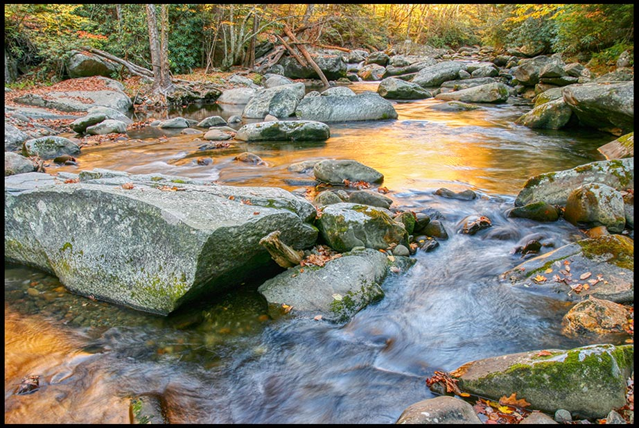 A rocky steam golden autumn light in the Great Smoky Mountains National Park, Tennessee and Jeremiah 31:25F Bible verse God satisfies our souls