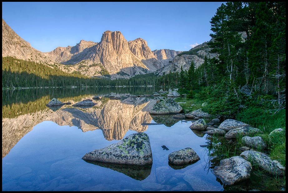 Cathedral Peak reflects in the blue waters of Cathedral Lake , Wind Rivers Wilderness, Wyoming and Psalm 63:2 Bible verse God's Sanctuary