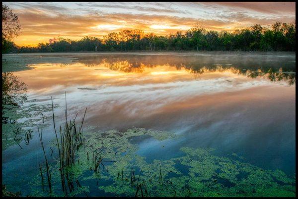 Daybreak sky over the waters of The Great Marsh, Fontenelle Forest, Bellevue, Nebraska. Bible Verse of the Day: Matthew 25:23