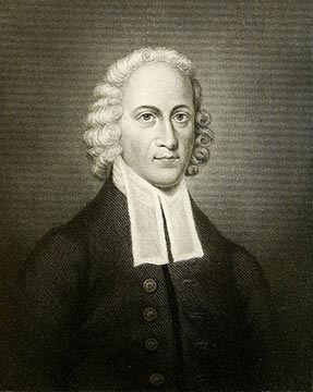 Etching portrait of Jonathon Edwards leader in Americas Great Awakening spiritual revival .