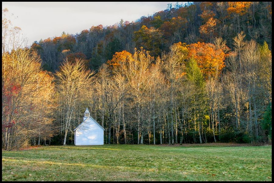 "Old country church under fall colors, Great Smoky Mountains National Park, North Carolina and Isaiah 32:17-18. ""God's people live in peaceful dwelling places"""