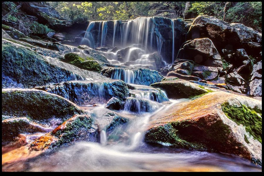 The mist over a small waterfall, White Mountains New Hampshire and I Corinthians 2:9 Bible verse heavenly beauty