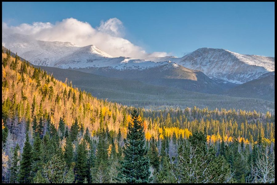 Fall aspens are dwarfed by snow capped mountains in Rocky Mountain National Park, Colorado and Psalm 3:3-4