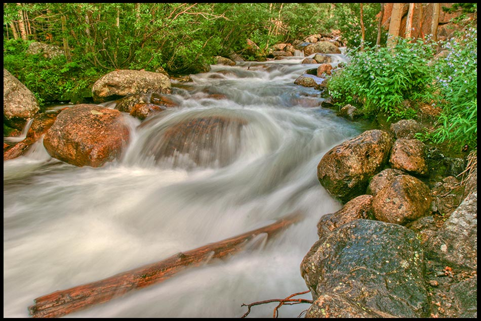 A mountain stream of the whitewater rapids below Alberta Falls, Rocky Mountain National Park, Colorado and Revelation 22:17 Bible come to Jesus