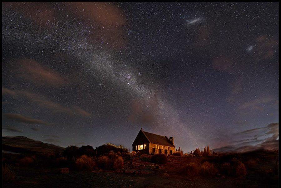 The Church of the Good Shepherd sits under the stars and Milkyway, Lake Tekapo, New Zealand. Bible Verse of the day Job 9:9-10