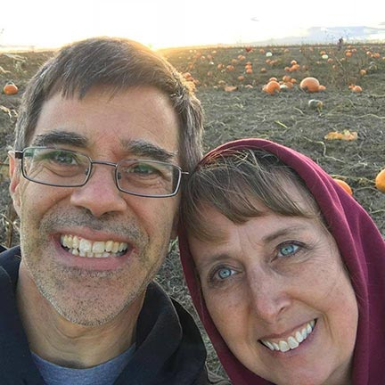 Man and woman, husband and wife selfie in Vala's Pumpkin Patch, Nebraska. The Visual Bible Verse of the Day website