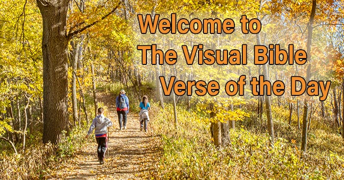 A woman walking with a young boy and a girl on trail through fall colors in Indian Cave State Park as welcome for photo for The Visual Bible Verse of the Day