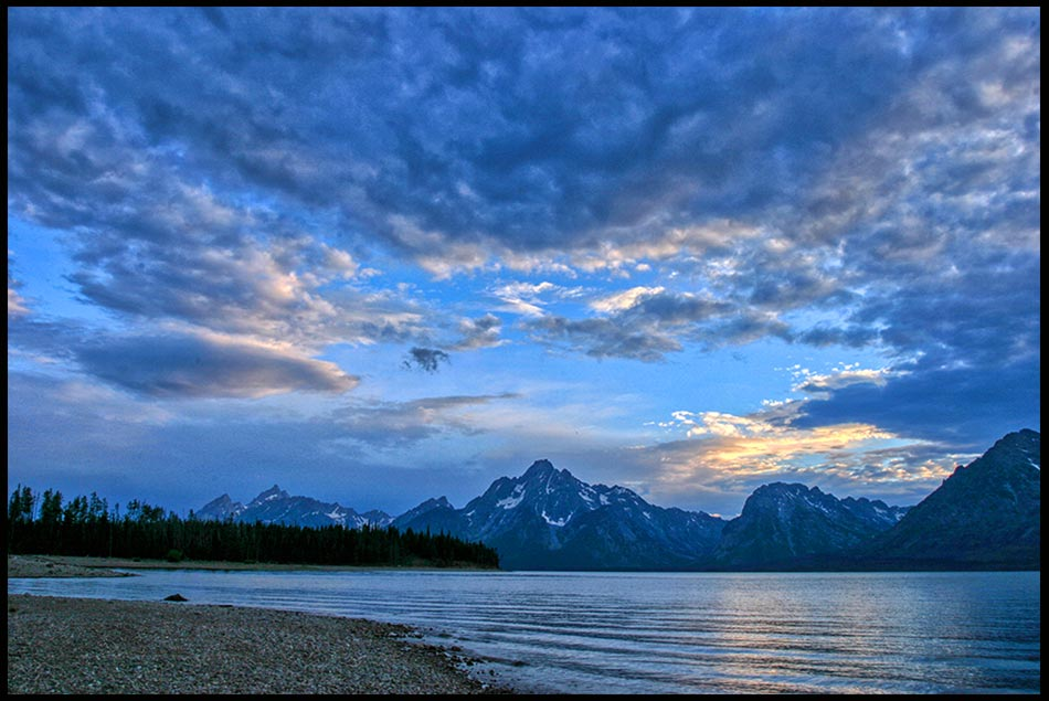 patchy clouds over Coulter Bay after Sunset, Grand Teton National Park, Wyoming and Psalm 97:1-2 Bible verse God and His majesty of God