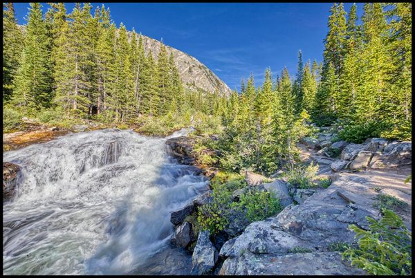 A mountain stream flows through rocks and a forest, San Isabel National Forest, Colorado. Bible Verse of the Day: Psalm 104:13-14a Springs flow