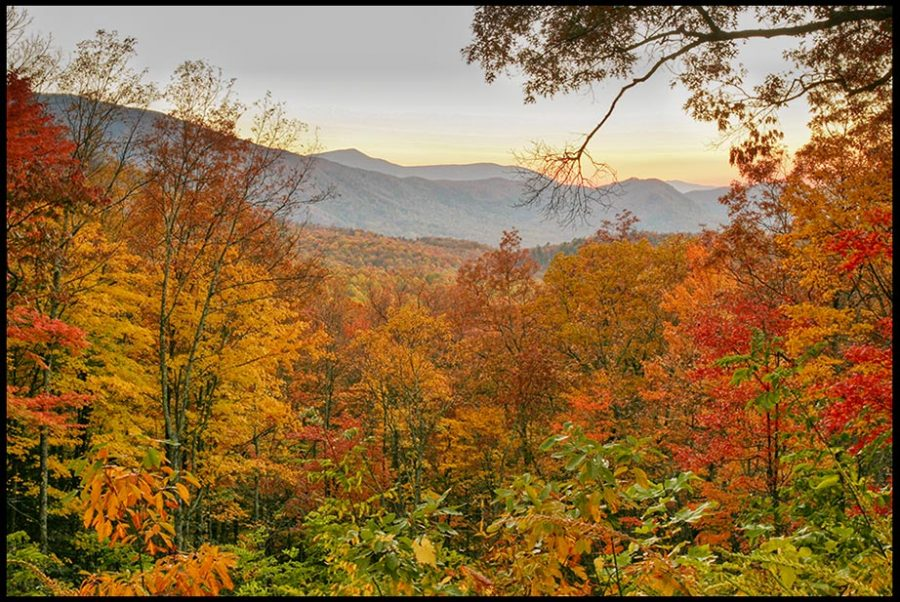 A sunset and brilliant fall colors in Great Smoky Mountains National Park, Tennessee and Isaiah 45:3. God's secret places