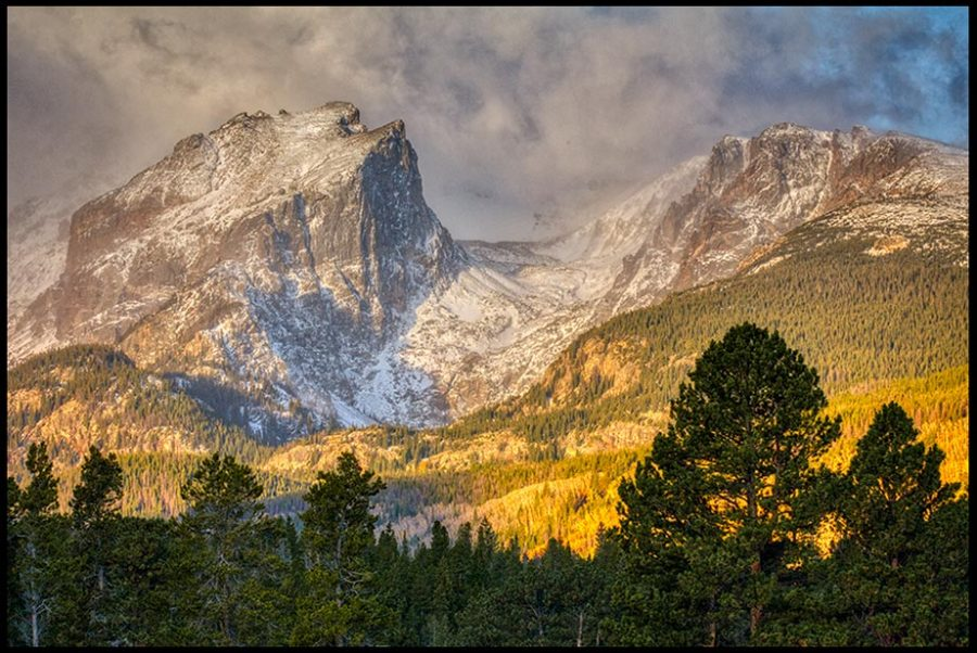 Clouds over the mountain peaks of Hallett and Flattop Mountain, Rocky Mountain National Park, Colorado. and Psalm 95:3-4 Bible verse and the mountain peaks are His