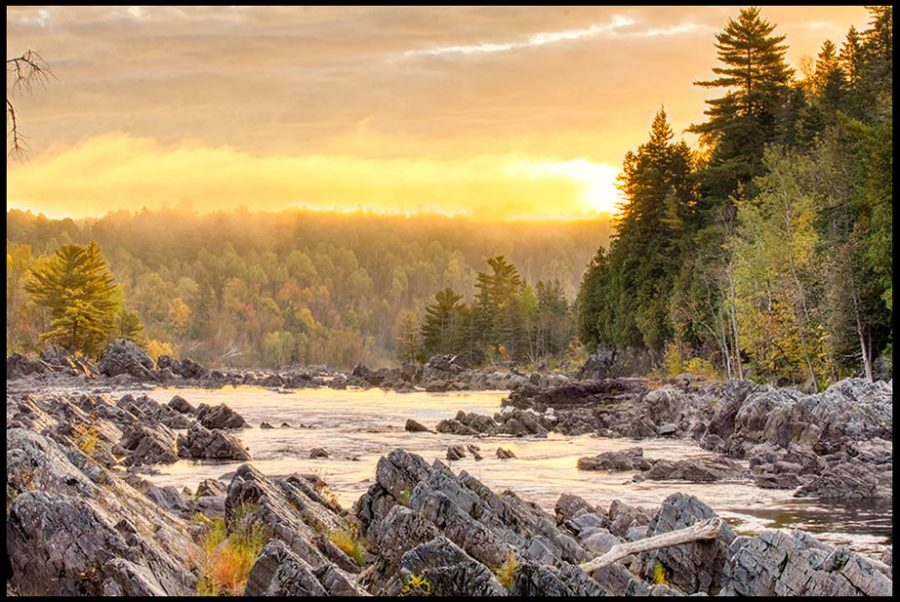 A golden sunrise and fog over the Forest and Water of Jay Cooke State Park, Minnesota and Bible verse Isaiah 60:1-2, God's light and glory