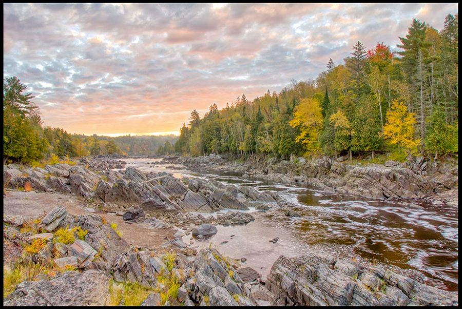 A Fall sunrise over the Saint Louis River in Jay Cooke State Park with Isaiah 1 and the whole earth is filled with his glory