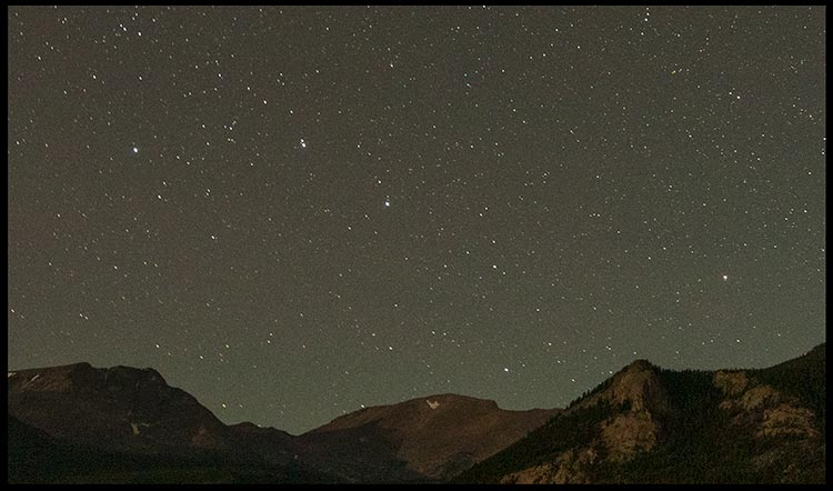 A close up of the Big dipper above the Colorado Mountains in Rocky Mountain National Park