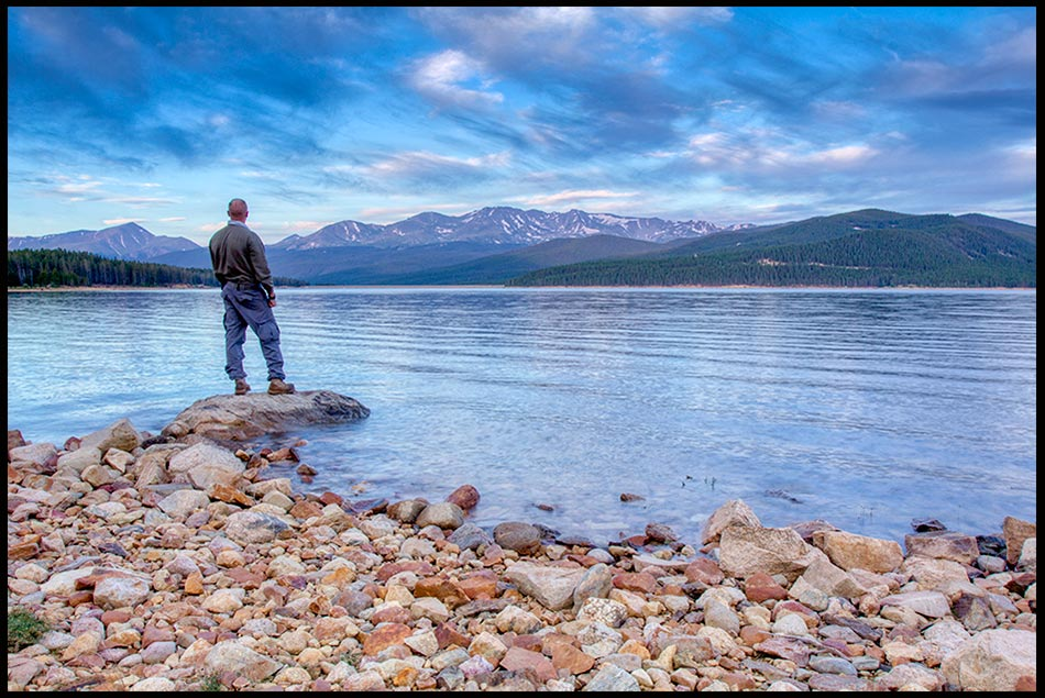 Hiker on hike along the the Shore of Turquoise Lake at dawn, San Isabel National Forest, Colorado and Psalm 130:5, 6. Wait on the Lord