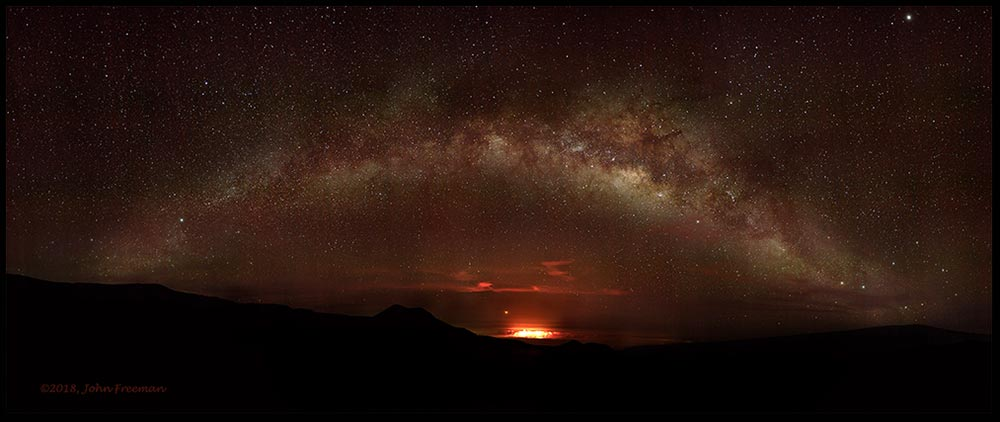 A star filed sky and Mars rising over the fire of Mauna Kea Volcano, Hawaii. Visual Bible Verse of the Day Isaiah 40:26, God numbers the Stars