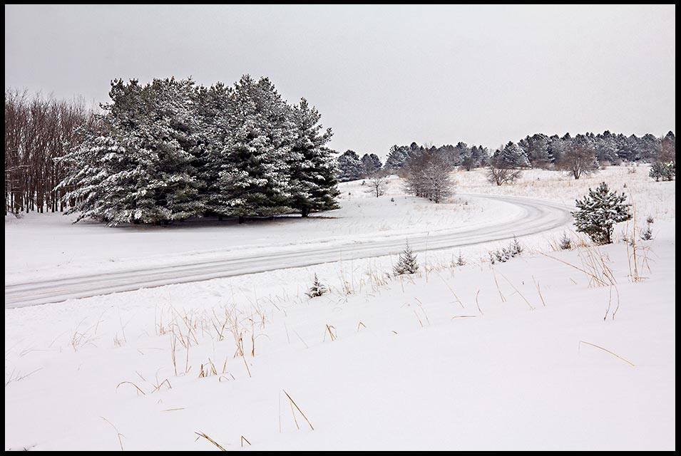 Snow-covered road curving through pine trees and small hills, Chalco Hills State Recreation Area, Nebraska. Isaiah 35:8Bible verse of the day and a highway of holiness