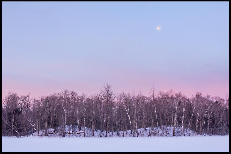 The moon in predawn magenta blue sky over a frozen James Lake before sunrise, in winter Camp Forest Springs, Wisconsin Northwoods and Bible verse John 14:27 Peace of Christ