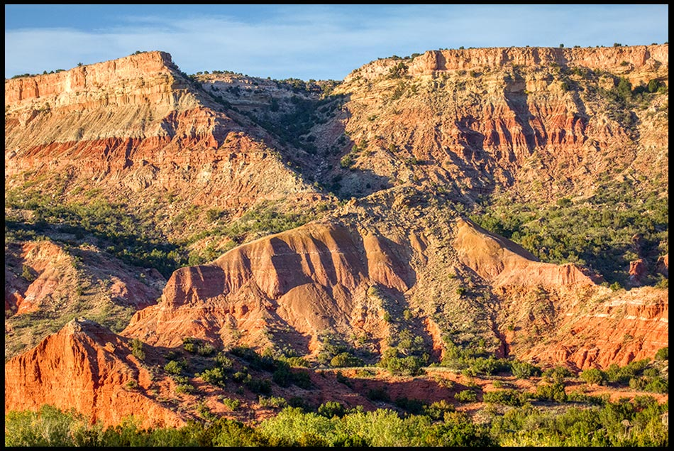 The orange and red desert canyon rocks of Palo Duro Canyon, Texas and Psalm 144:1-2a.