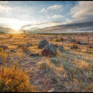 Sunrise in Moraine Park, Rocky Mountain National Park, Colorado.Bible verse Revelation 22:13,Alpha and the Omega