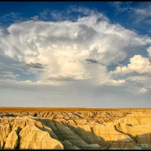 Thunderhead Cloud, Badlands National Park, South Dakota and Job 37:2-4 Bible verse and The Voice of thunder