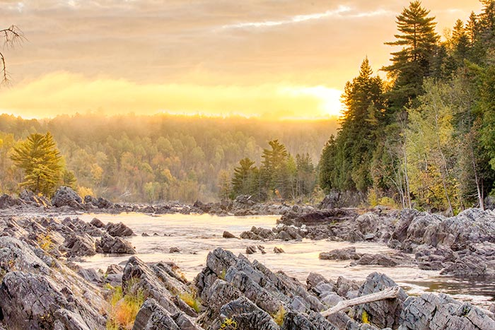 A photo taken at Golden hour of rocks and trees along the St. Louis River at Jay Cooke State Park in Minnesota to demonstrate basic photography tips.